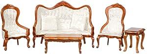 Dollhouse Miniature Victorian White Living Room Furniture Set Walnut Sofa