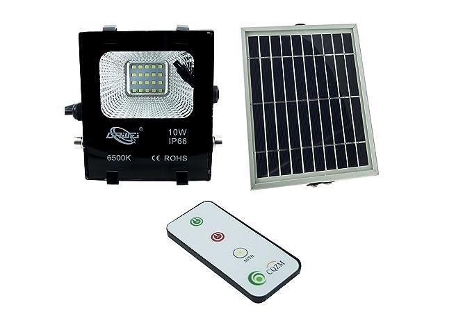 Foco LED SMD de 10 W, con panel solar con sensor crepuscular y mando a