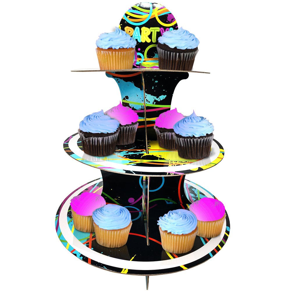 Glow Party Supplies Glow Party Cupcake Stand /& Pick Kit Cake Decorations Birthdays 3 Tier Cardboard Blue Orchards Decorations