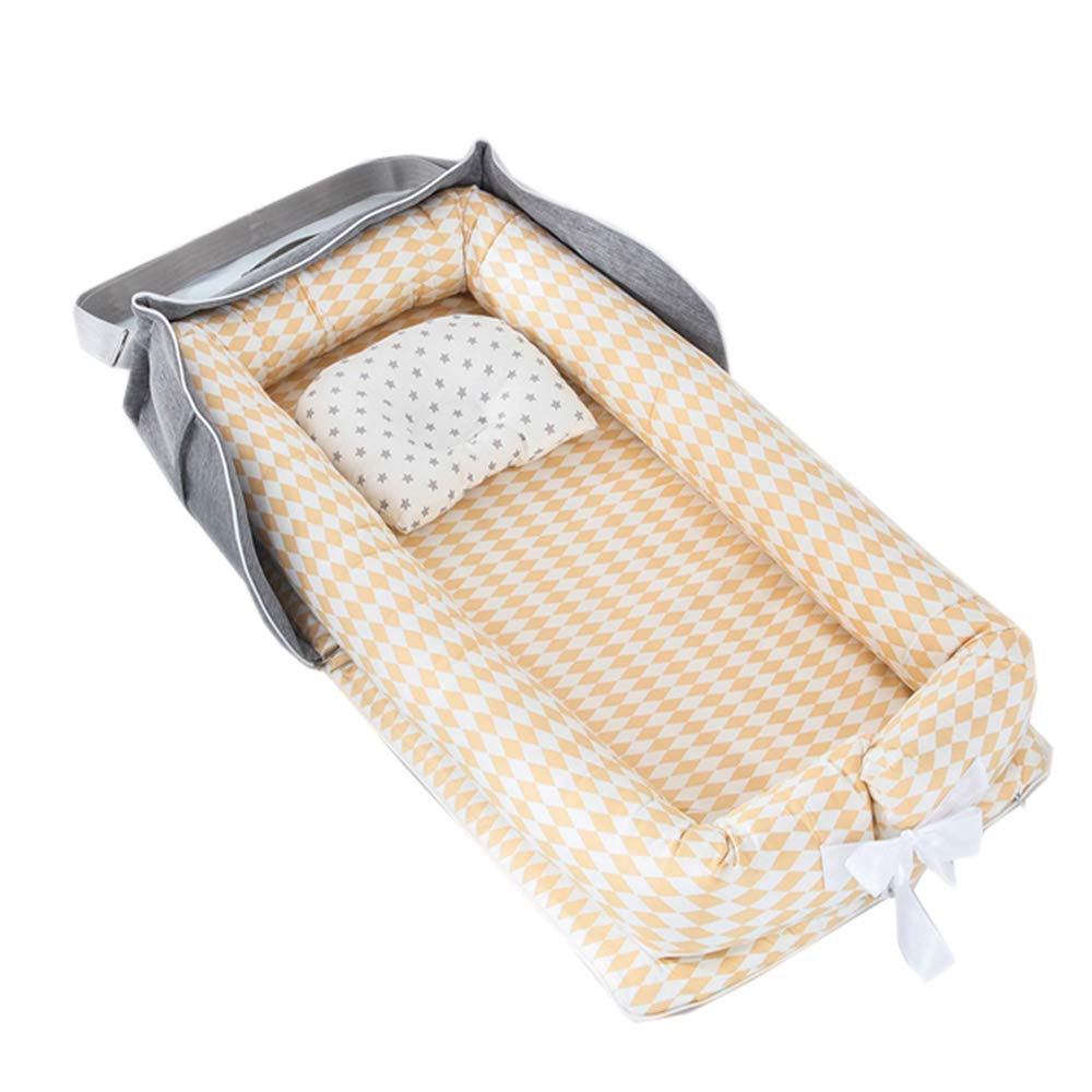 0-24 Months Co-Sleeping Baby Bed with Comforter 100/% Cotton Portable Crib for Bedroom//Travel Abreeze Baby Bassinet for Bed Bear-Pink Baby Lounger