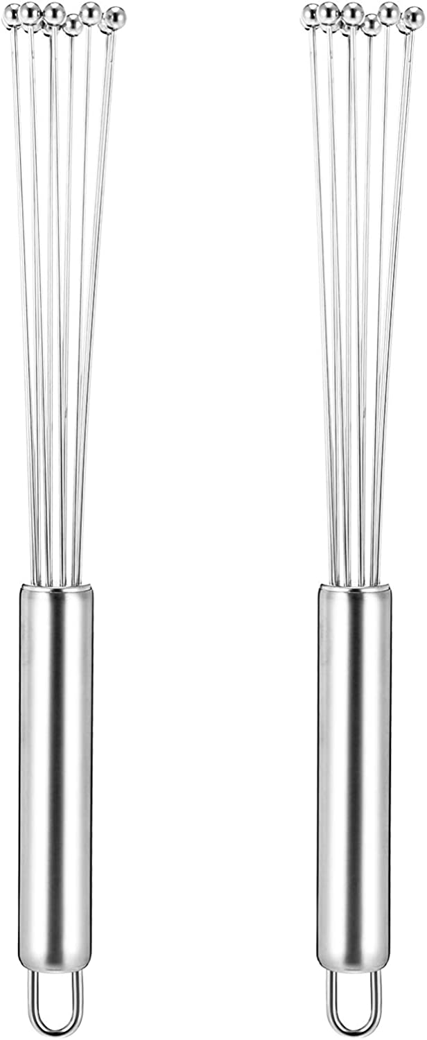 SUSSURRO 2 Pieces Stainless Steel Ball Whisk Wire Egg Beater Set Handheld Steel Wire Whisk Balloon Wire Whisk for Cooking Blender Kitchen Blending Tools