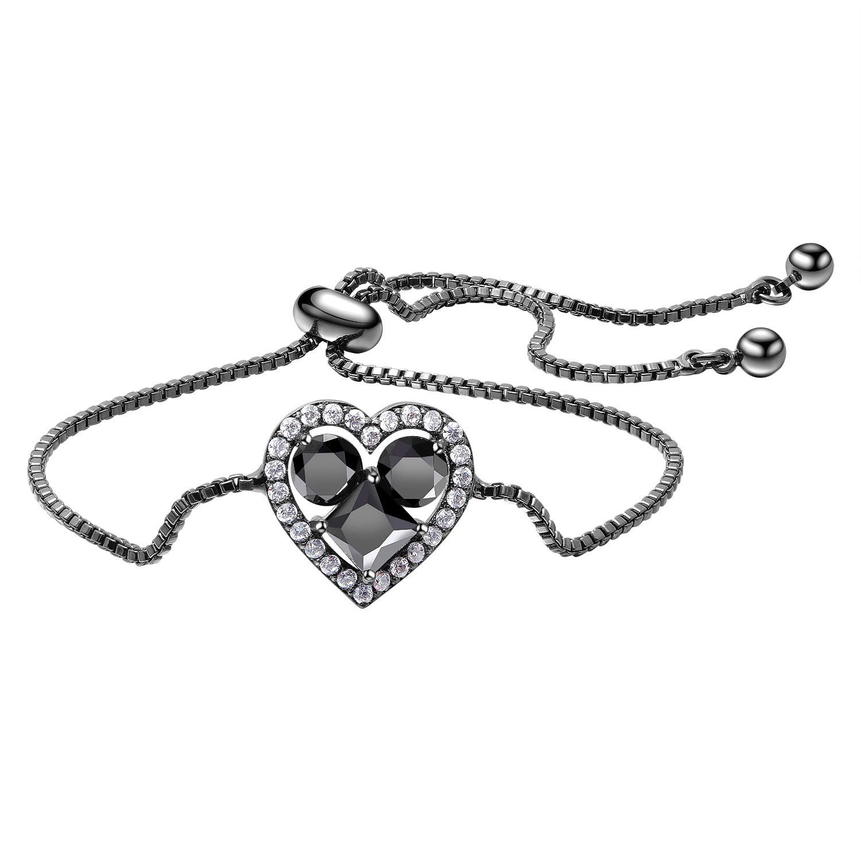 BeautySalon Garnet Red Zirconia Stone Inlaid Halo Heart Charm Adjustable Chain Bracelets