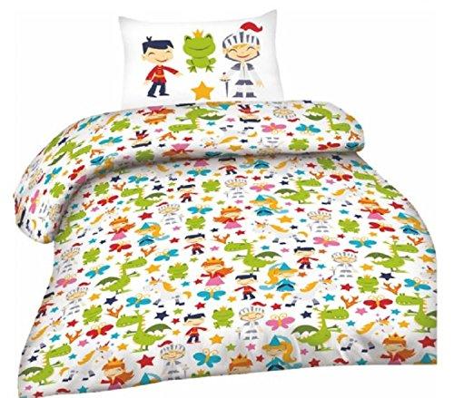 Kind Baby Bettwäsche Set 2-teilig Biber Baumwolle Bettbezug Decke 100x135cm Kopfkissenbezug 40x60cm Weiß Grün Gelb Rot Märchen Figuren Optima