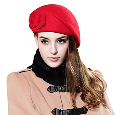 TININNA Sombrero Lana para Mujer,Otoño e Invierno Boina Flores Bucket Felt Beret Gorro Caliente Bolas Sombrero-Rojo: Hogar