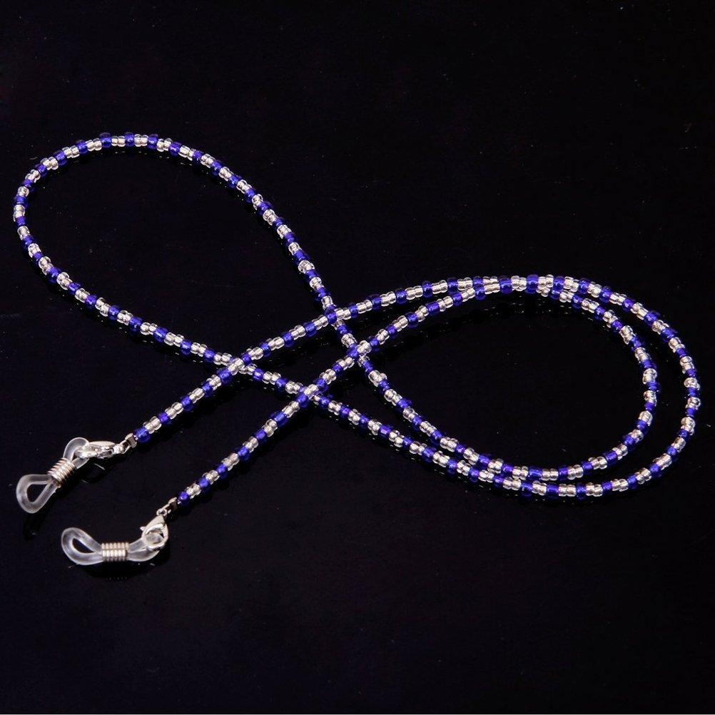 Black+Clear ULTNICE 60cm Long Fashion Crystal Beads Beaded Glasses Eyeglasses Sunglass Spectacles Chain Holder Neckchain