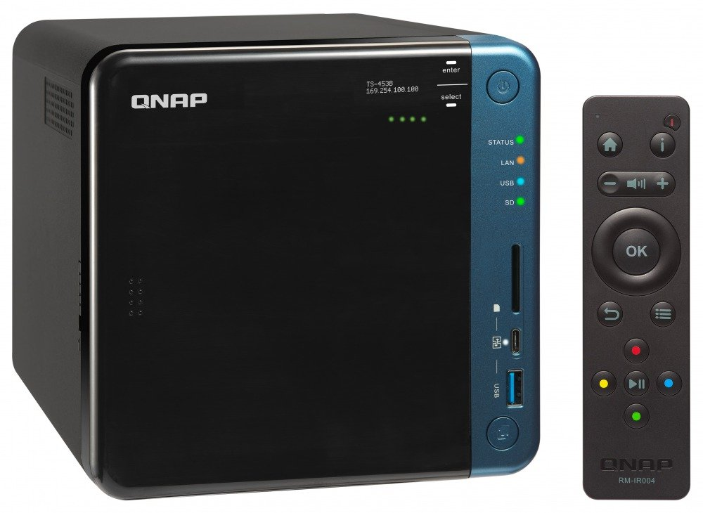 Qnap TS-453B-4G-US 4-Bay Professional-grade iSCSI NAS. Intel Celeron Apollo Lake J3455 Quad-core CPU with Hardware Encryption and exclusive USB type-C Quick Access Port.