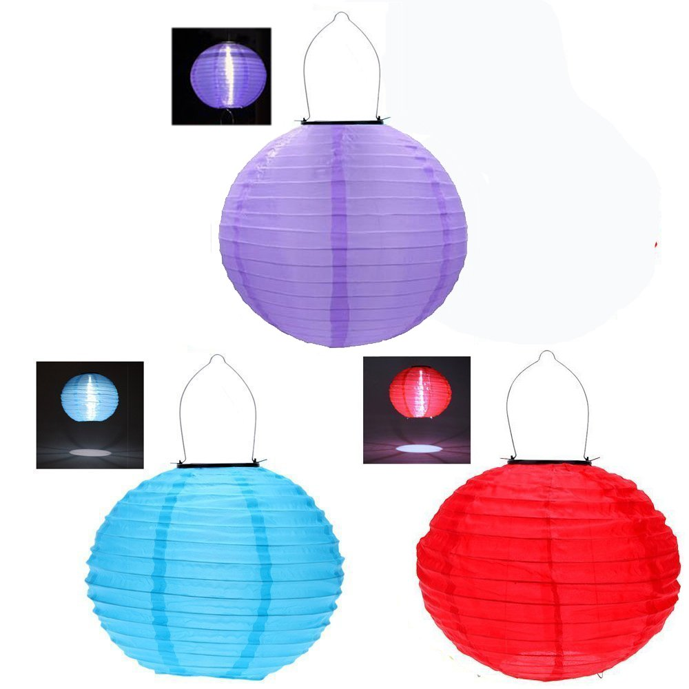 RioRand 1pcs 30CM waterproof solar lantern Solar outdoor hanging lights LED holiday lights hanging lantern Chinese celebration (3pcs)