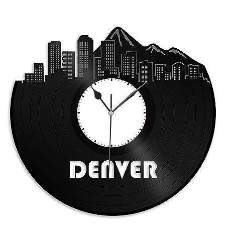 VinylShopUS – Denver CO Vinyl Wall Clock Cityscape Souvenir