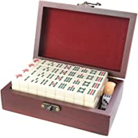 Attica Mahjong / Majiang travel set, game pieces made of white ivory imitation, in fine wood casket