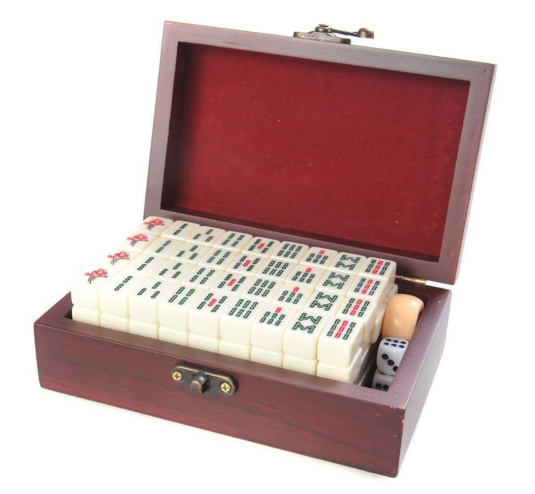 Attica Mahjong / Majiang travel set, game pieces made of white ivory imitation, in fine wood casket (Size 6.7 X 4.3 X B009J5J28S