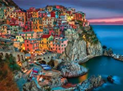 This 1000 piece jigsaw puzzle features Cinque Terre on the stunning Italian coastline. A popular destination for European travelers, this nighttime scene is a masterpiece to snap together piece by piece. Every Buffalo Games jigsaw puzzle is m...