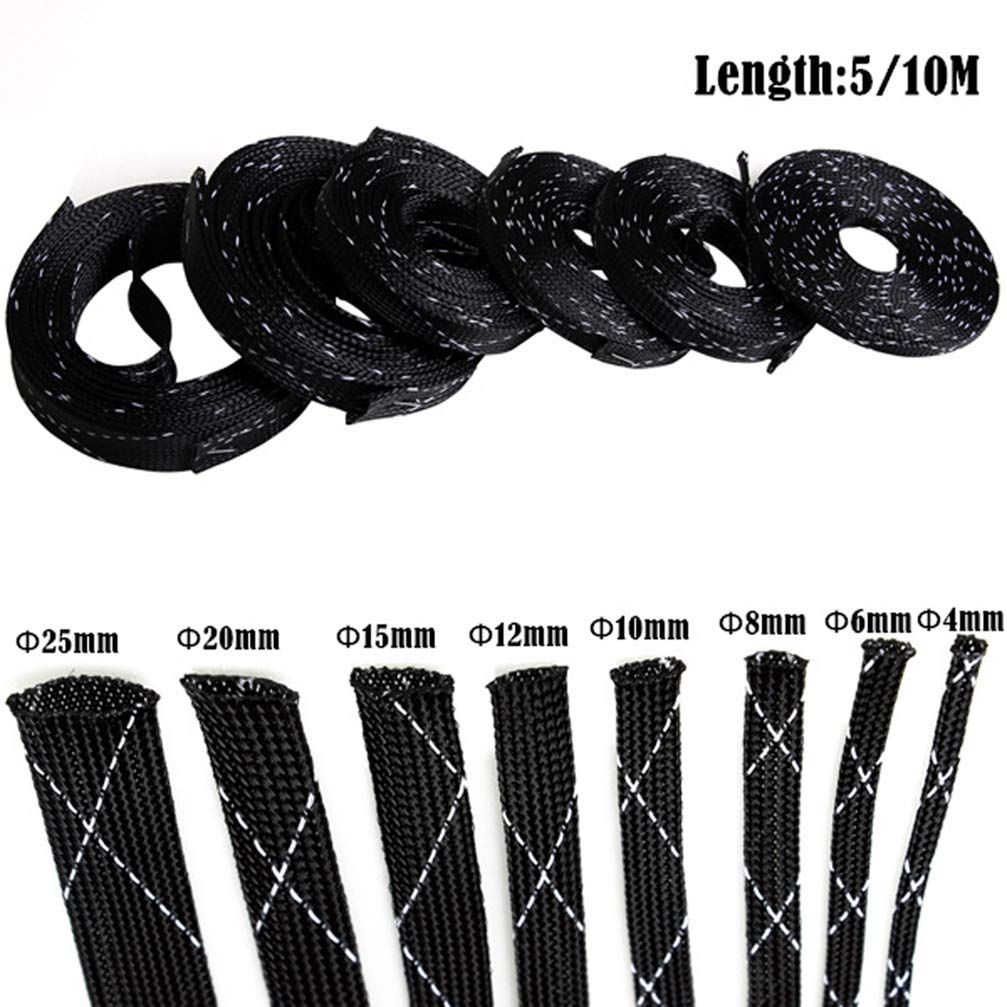 10M Cable Sleeve PET Braided High Density Expandable Sleeve Wire Sheathing Wire Wrapper 4-25mm Black and White