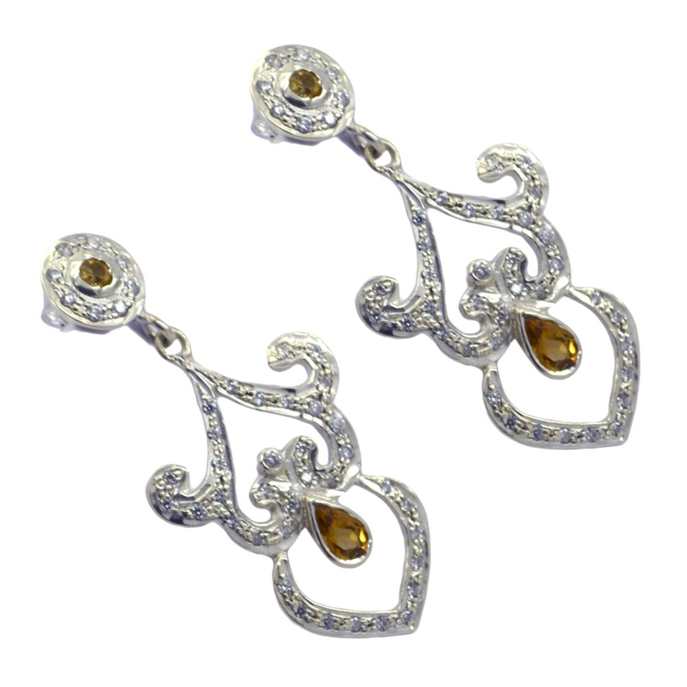 Jewelryonclick Real Citrine Earings For Women Fashion 925 Silver Yellow Birthstone One Pair Jewelry Gift