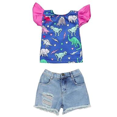 ed50f4d66 Vincent&July Girls Clothes Toddler Baby Girls Dinosaur Heart Cartoon  Ruffles Tops+Denim Shorts Pants Outfits