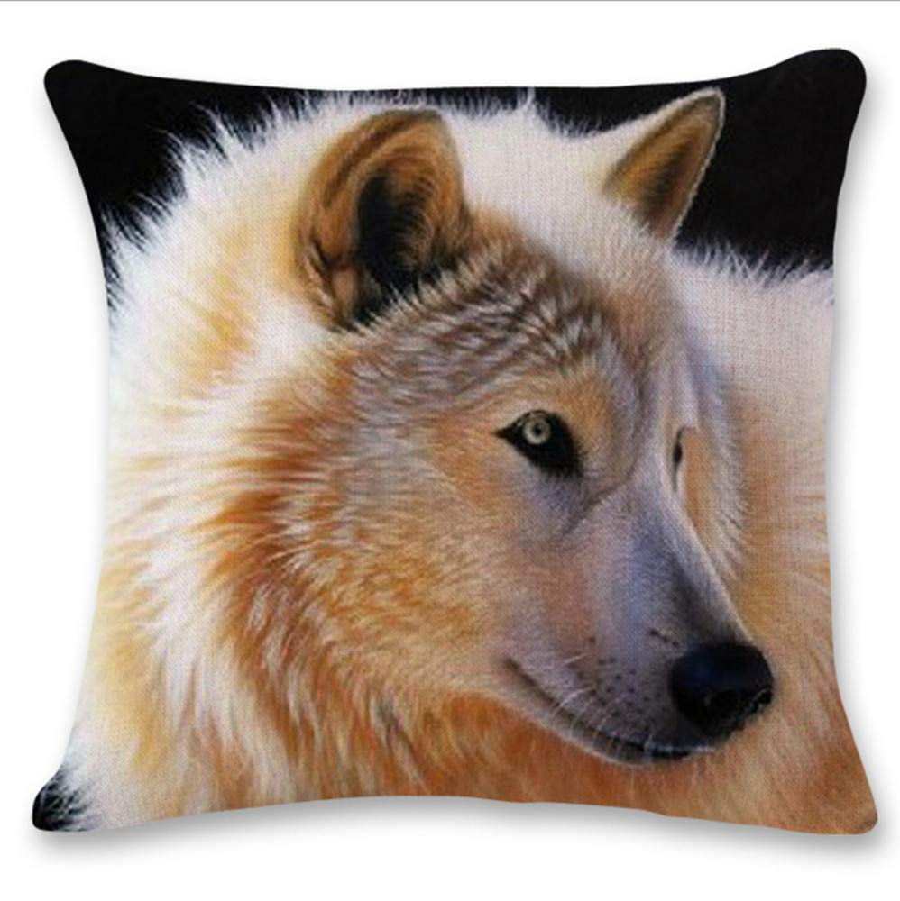 Pgojuni Cute Wolf Tower Flax Pillowcase Decoration Throw Pillow Cover Cushion Cover Pillow Case for Sofa/Couch 1pc (D)