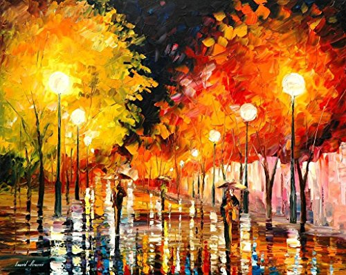 RAINY NIGHT is an OVERSIZED, ONE-OF-A-KIND, ORIGINAL OIL PAINTING ON CANVAS by Leonid AFREMOV