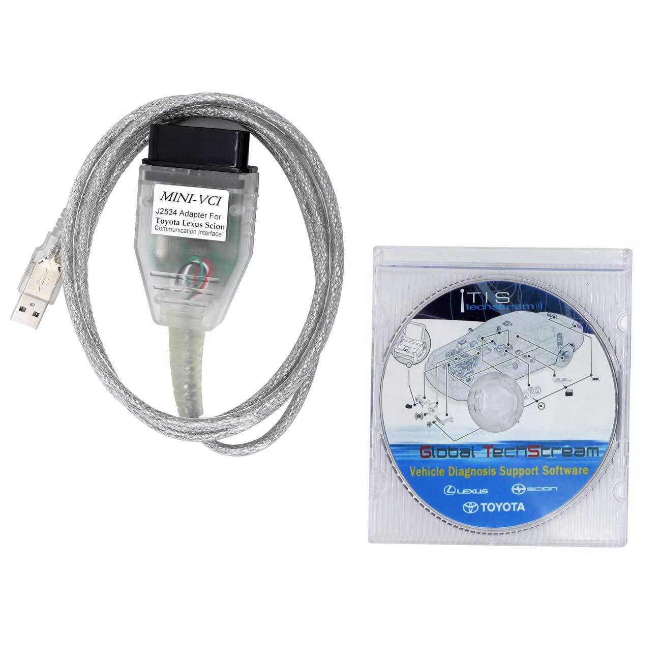 SZ-TONDA Mini VCI Techstream J2534 Cable - V2.0.4 Firmware and V14.10.028 Software TIS Techstream OBD2 K+CAN Code Reader 64bit Scanner Mini-VCI Diagnostic Tool for Lexus Toyota Scion