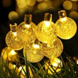 Solar String Lights,Hann 20ft 30 LEDs Crystal Ball Waterproof Outdoor String Lights Solar Powered Globe Fairy String Lights for Garden, Yard, Home, Landscape,Christmas Party
