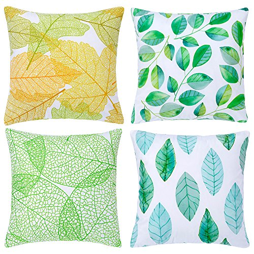 Fancy Queen Set of 4 Nordic Style Series 01 Leaves Velvet Soft Throw Pillow Case Cushion Cover Soild Square Toss Throw Pillowcover Decor for Sofa Bedroom Car 18