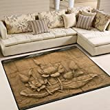 Naanle japan japanese Area Rug 5'x7', Lotus Flower Thai Style Polyester Area Rug Mat for Living Dining Dorm Room Bedroom Home Decorative