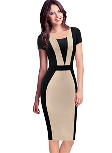 VfEmage Womens Elegant Colorblock Contrast Work Business Casual Pencil Dress