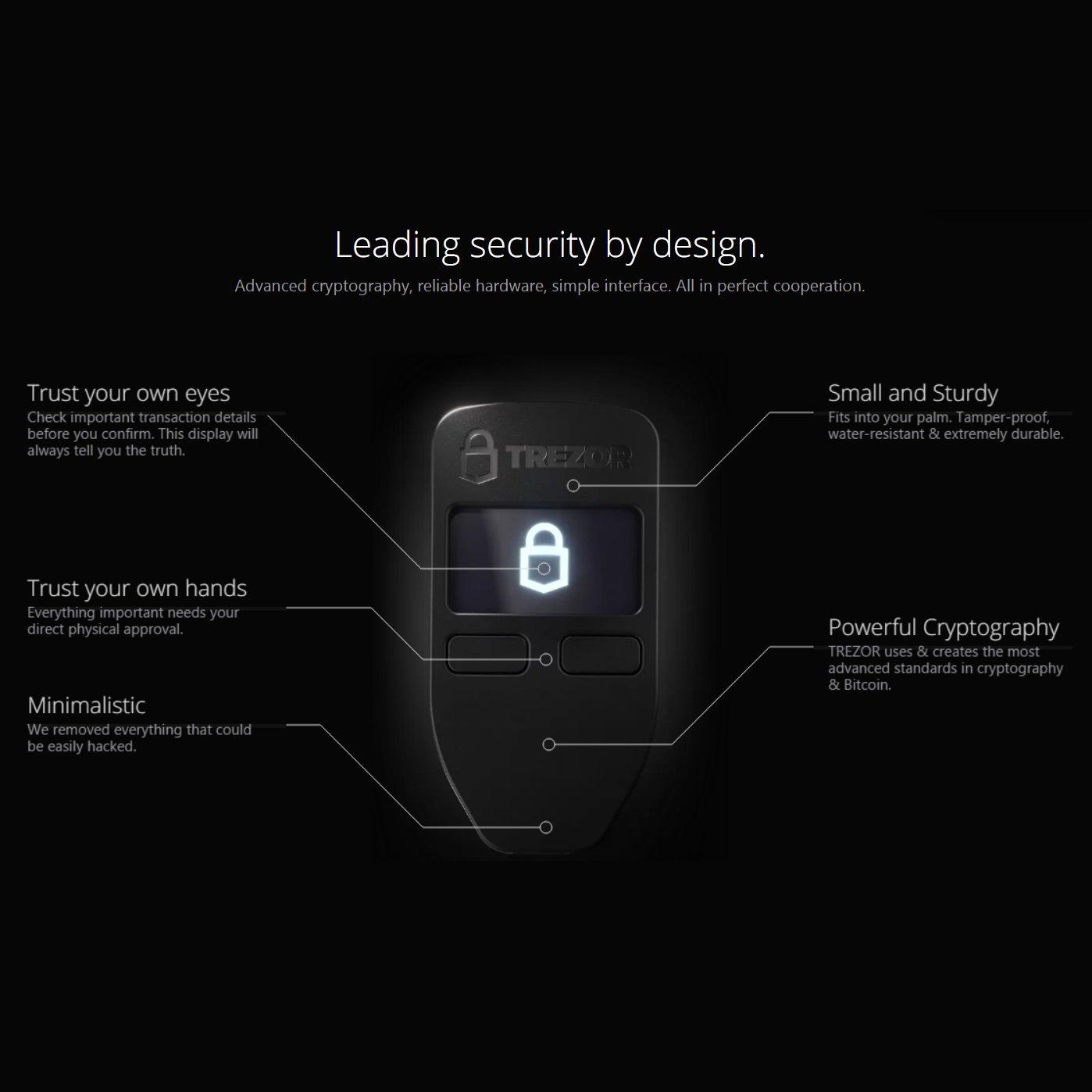 Trezor - criptomoneda hardware wallet para el almacenamiento seguro de Bitcoin, Etereum (todo ERC20 tokena) y muchos otros Altcoins, BONO frisbee