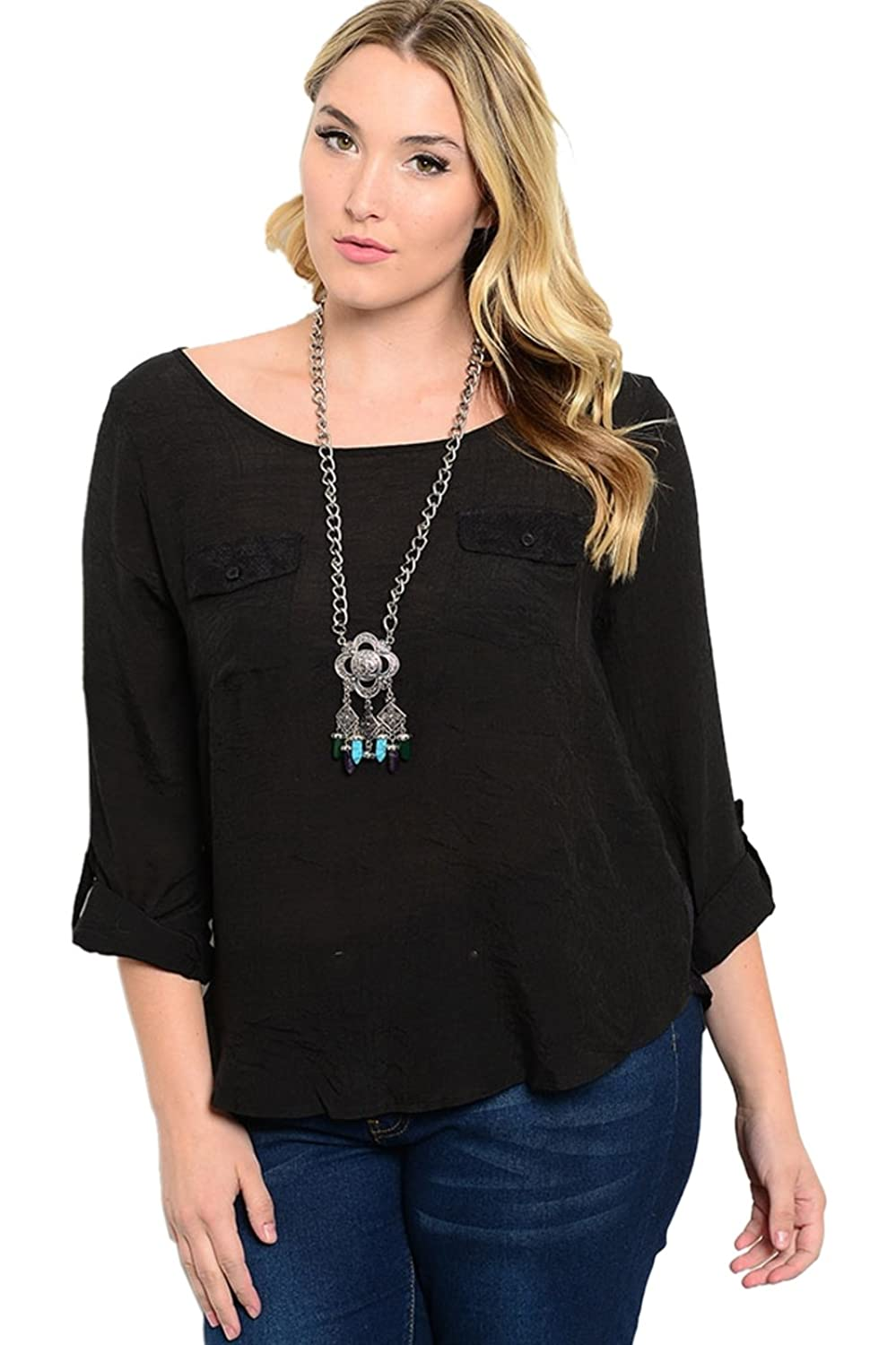 2LUV Plus Women's Plus Size 3/4 Sleeve Top with Lace Paneling