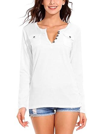 01fd5cc984d22 ISASSY Women s Cotton Long Sleeve deep V-Neck Button Slim Tee Shirt Tops  Blouse T-shirt (8