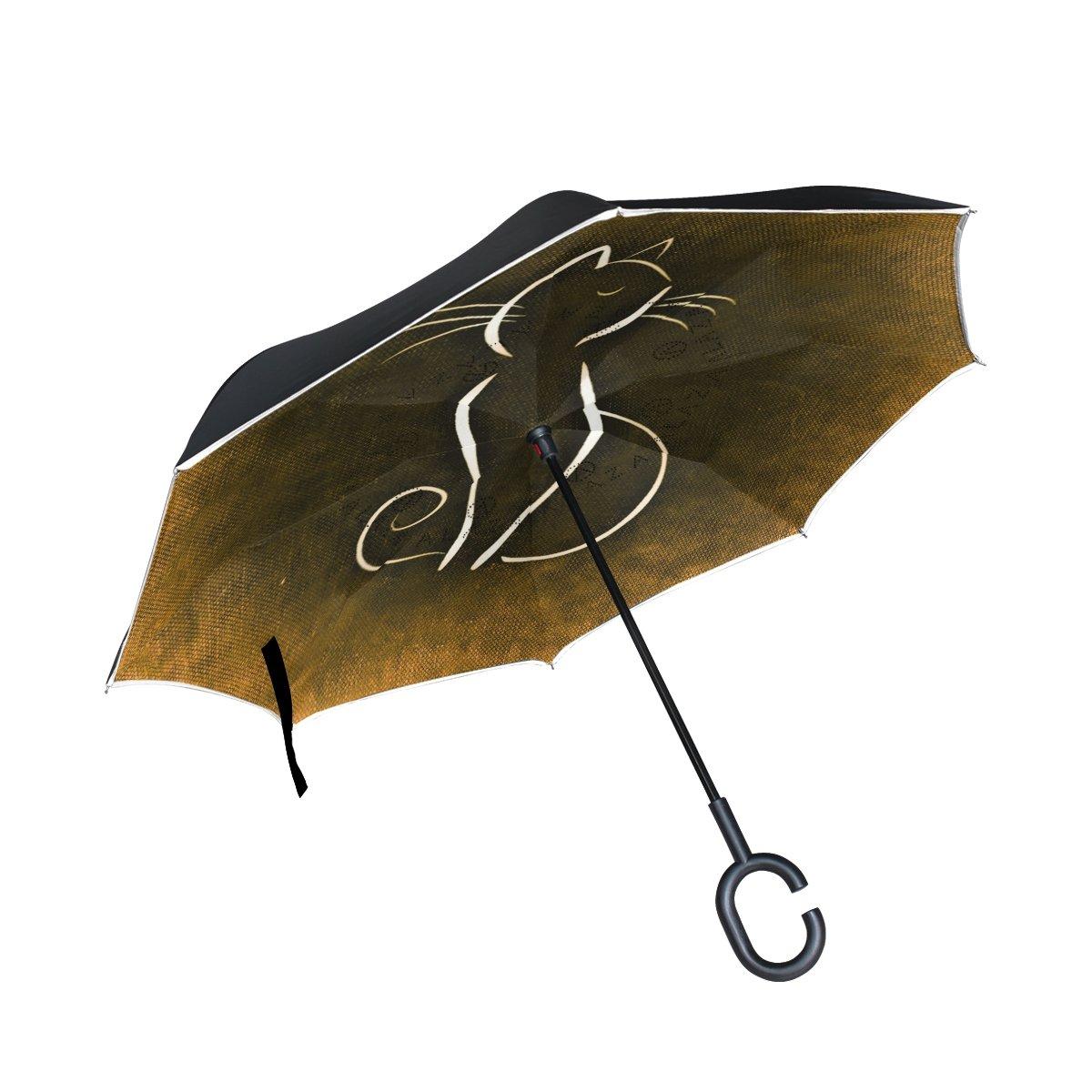 Mango en Forma de C Paraguas Vintage Gato ISAOA Paraguas Grande invertido Paraguas Resistente al Viento Doble Capa Reversible Plegable Paraguas para Coche Lluvia Uso al Aire Libre