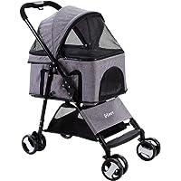i.Pet 4 Wheels Pet Stroller Dog Cat Carrier Travel Foldable-Grey