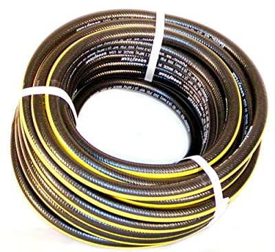 """Air Hose Continental (Formerly Goodyear) BLACK with YELLOW STRIPE Pliovic 300psi 3/8"""" x 25' with brass fittings"""