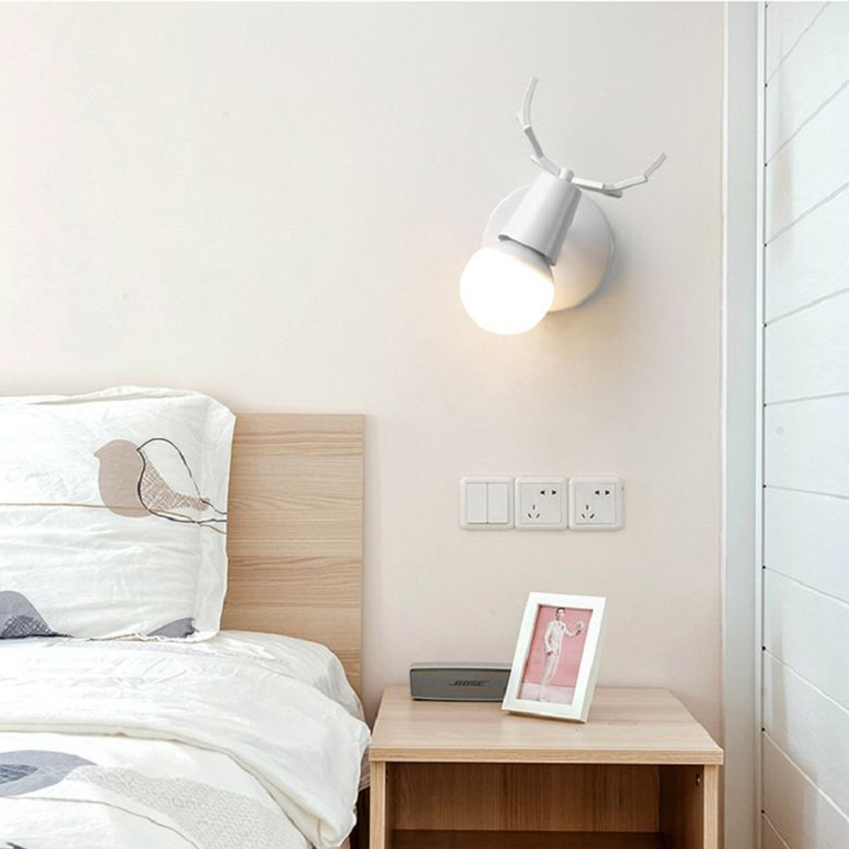 Kawell Creative Wall Light Modern Lamp Simple Scone Iron Antler Wiring Kit E27 Base Deer Head Nordic Style Art Deco For Bedroom Living Room Childrens