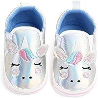 Nagodu Shoes Zapatos para Bebes niñas de Unicornio con los Ojos Cerrados Plateados Suela Blanda con Rosa y Azul, Hermosos