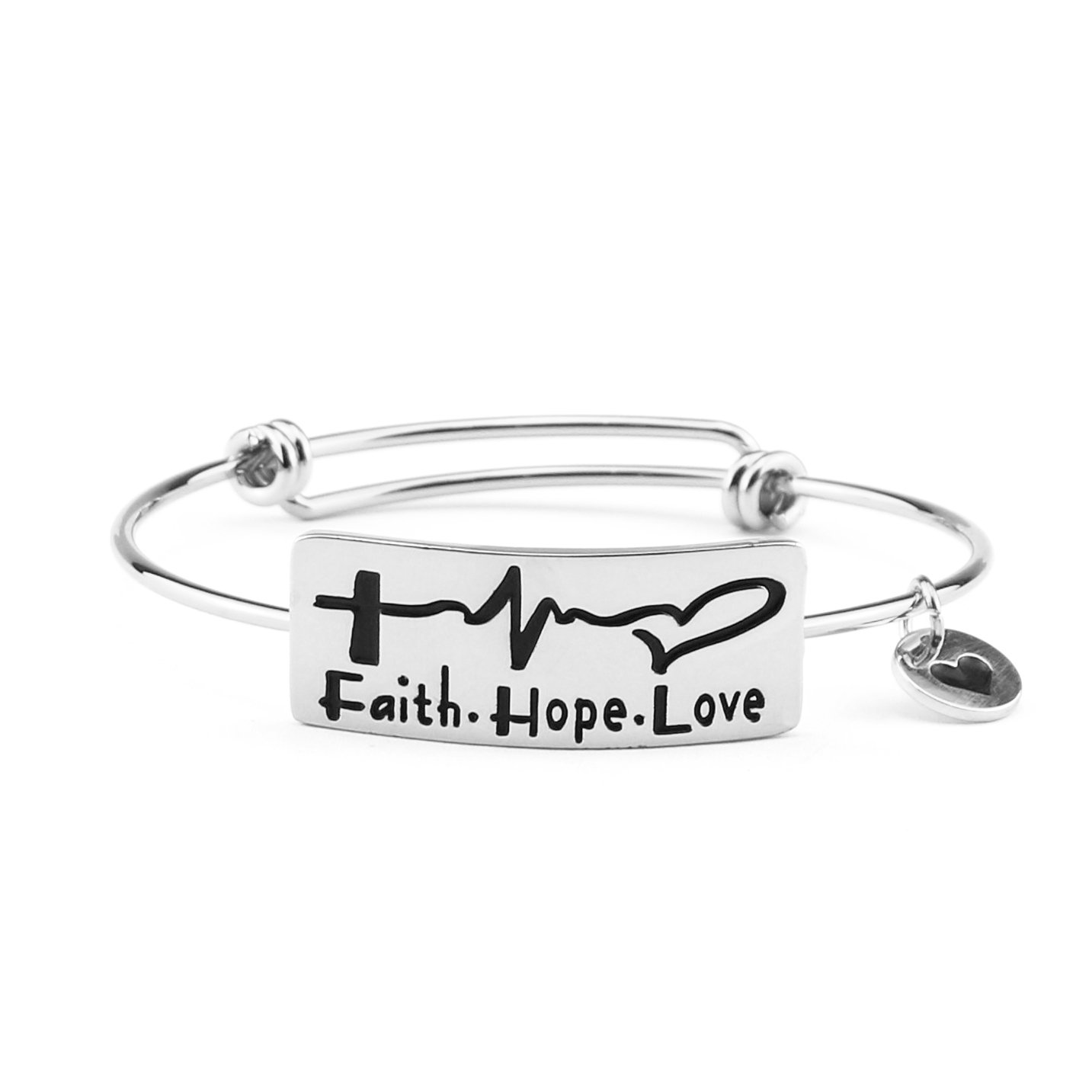 Yiyangjewelry Expandable Bangle Bracelet Personalized Engraved Inspirational Quotes Christimas Gifts for Female Electrocardiogram Faith Hope Love Adjustable Wire Plate Encouragement