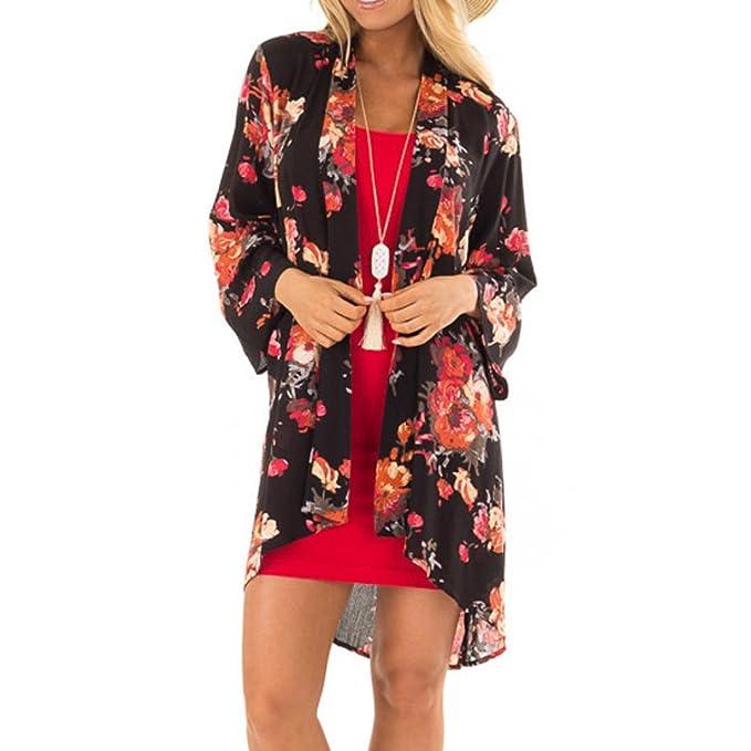 Siswong Mujer Verano Talla Grande Vendimia Floral Chal Tops Kimono Blusa Escudo Cardigan 2018 (S