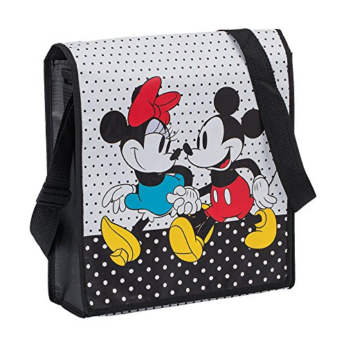 Vandor Disney Mickey and Minnie Recycled Messenger Tote (89007), Red/Black/White/Yellow