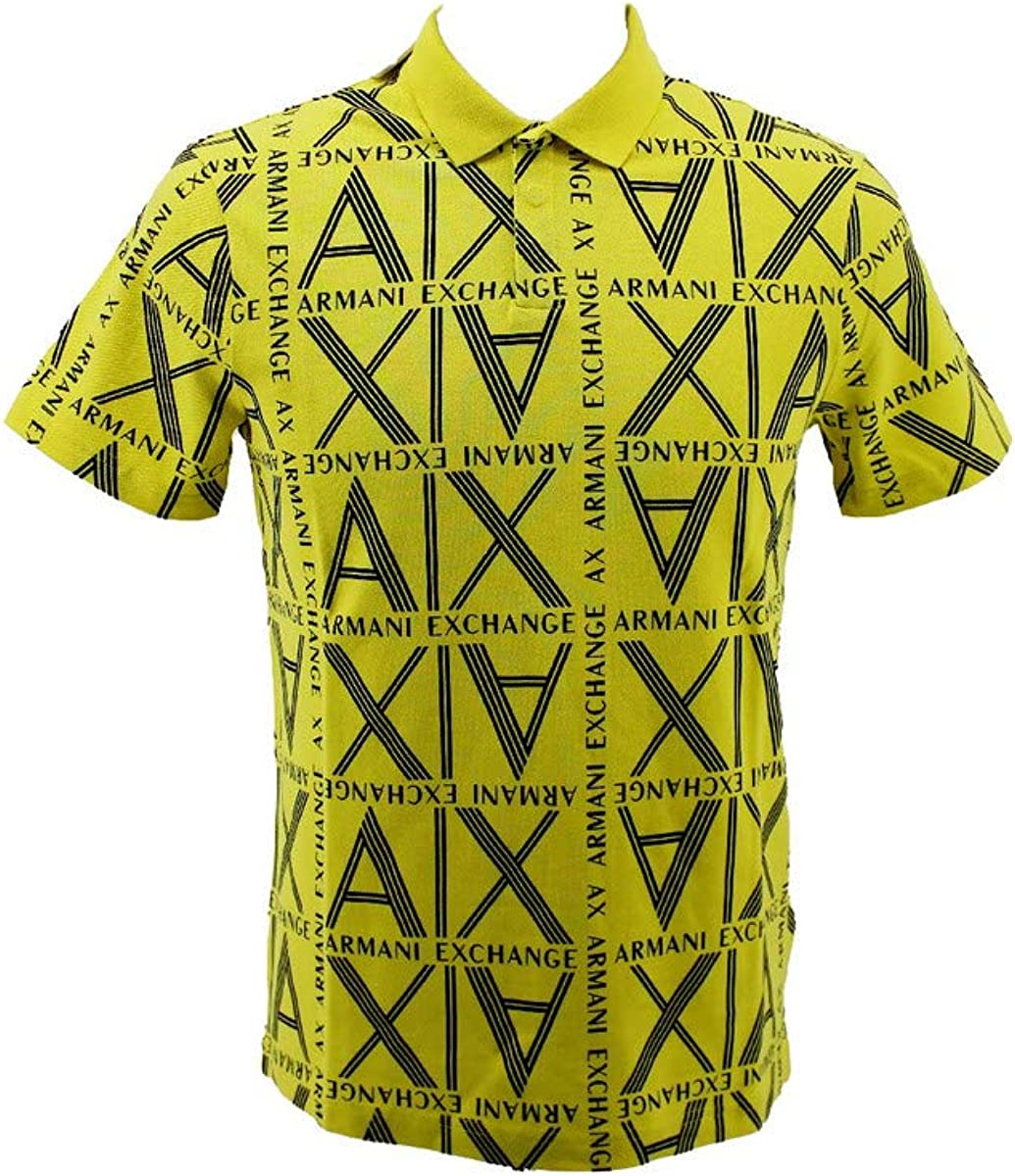 A X Armani Exchange Men's Regular Fit Print Short Sleeve Pique Polo Shirt