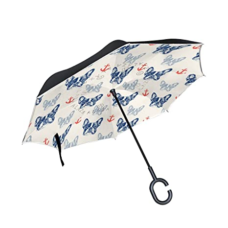 COOSUN Patrón francés dogo de la capa doble del paraguas invertido inversa para el coche y