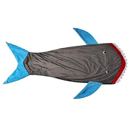 Manta de tiburón con dientes de tiburón Cola de pez, suaves y cálidos paño grueso y ...