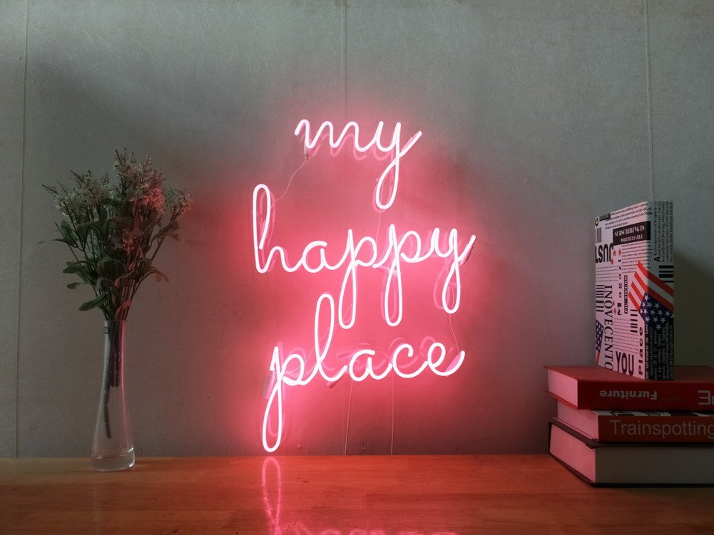 My Happy Place Real Glass Neon Sign For Bedroom Garage Bar Man Cave Room Home Decor Handmade Artwork Visual Art Dimmable Wall Lighting Includes Dimmer