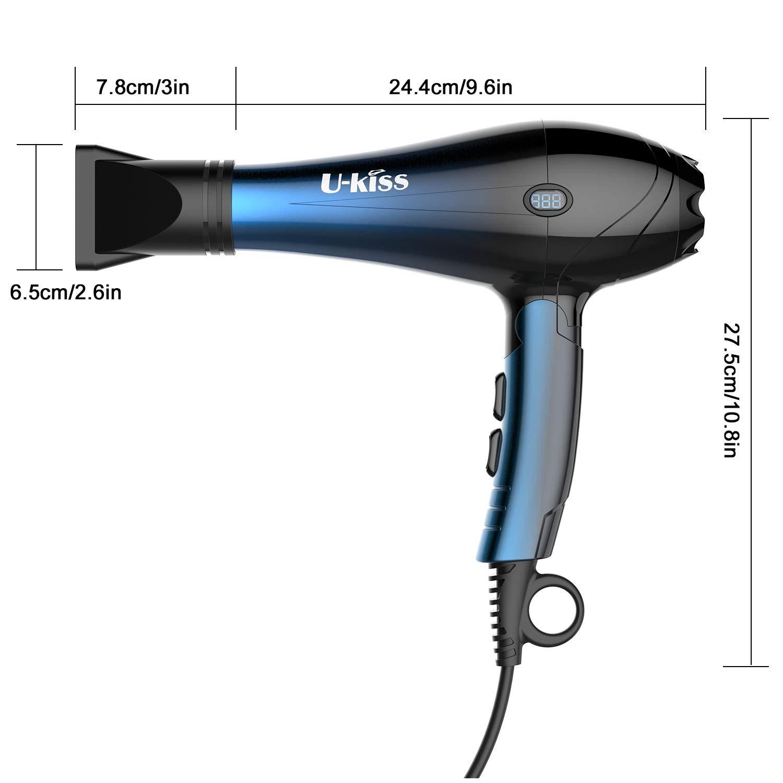 Haartrockner,U-Kiss Profi Fön mit Digitalanzeige Blaulicht und 2 Styling Düsen, Leise, 2000 Watt Anti-Frizz für Glatteres Haar