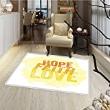 Hope Door Mats Area Rug Inspirational Religious Hope Faith Love Quote with Grunge Letters Door Mat indoors Bathroom Mats Non Slip 20''x32'' Orange Yellow and Pale Yellow
