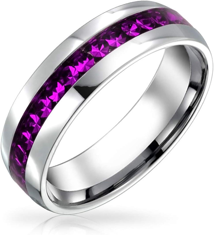 Bling Jewelry Mes Nacimiento del Canal Color Cristal Eternidad Juego Mujer para Hombres para Adolescentes con Tonos Plata Acero