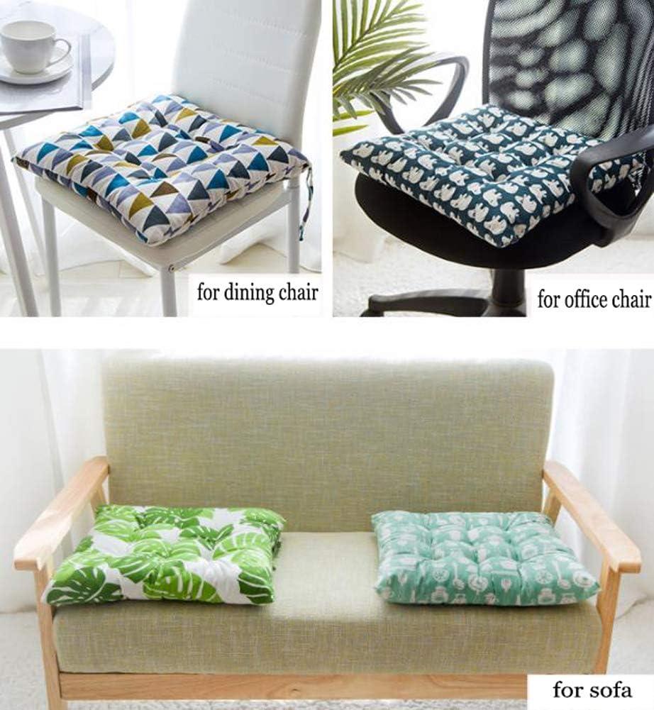 Set di 2 cuscini imbottiti per sedia con laccetti divano casa 45 x 45 cm morbidi al tatto ufficio per sala da pranzo imbottiti ANQI in cotone imbottiti