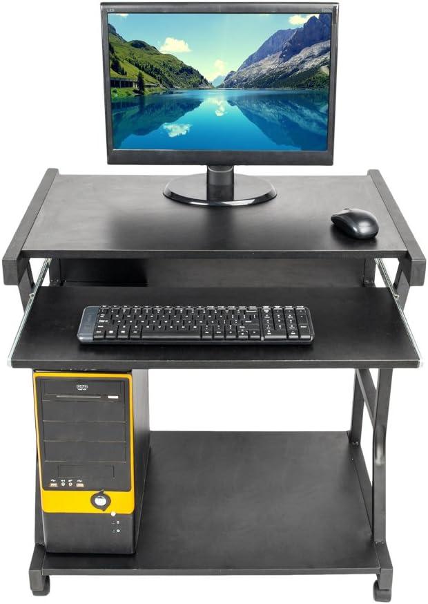 Jskjlkl Sturdy Moveable Computer Desk with Wheel for Livingroom Bedroom Office Black