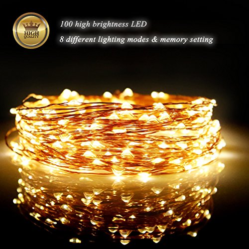 Fairy Lights LED String Lights Outdoor 33ft 100LED Copper Wire Battery Powered with Remote Control Decorative Lights for Bedroom, Patio, Garden, Gate, Yard, Parties, Wedding (Warm White)