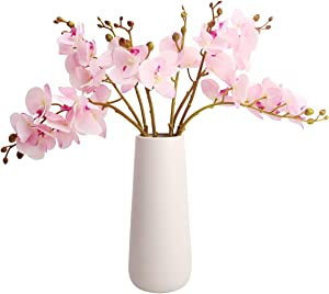 BOMAROLAN Artificial Butterfly Orchid Real Touch Double Branch Silk Flowers 4 Pcs for Wedding Home Party Hotel Decoration(Pink)