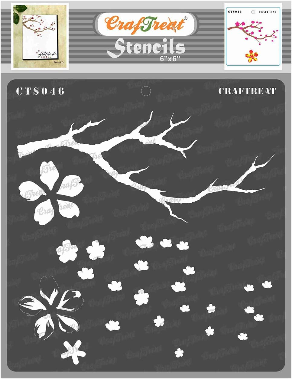 CrafTreat Layered Flower Stencils for Painting on Wood, Canvas, Paper, Fabric, Floor, Wall and Tile - Cherry Blossom Tree - 6x6 Inches - Reusable DIY Art and Craft Stencils for Painting Flowers