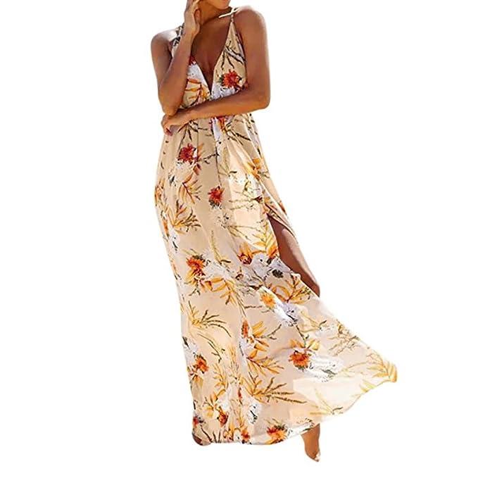 JYC Vestidos Elegantes Encaje, Vestido Satén Essence, Cintura Alta Años Hippies Vestido Coctel, Mujer Flor Sin mangas Sexy Largo Noche Fiesta Vestir playa ...