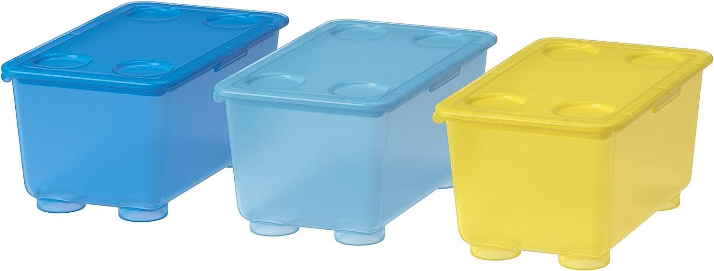 Ikea Glis Caja con Tapa, Azul, Blanco y Verde, 17x10x8 cm, 3 Unidades: Amazon.es: Hogar